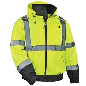 Ergodyne Glowear Class 3 Fleece Lined Safety Bomber Jacket Yellow lime