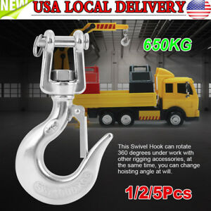 650kg American Type Swivel Lifting Silver Tone Clevis Hook Rigging Accessory New