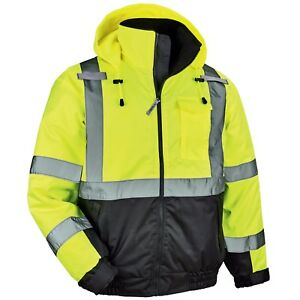 Ergodyne Glowear Class 3 Quilted Safety Bomber Jacket Yellow lime