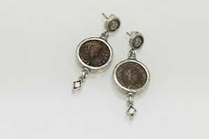 Sterling Silver Earrings Cz With Authentic Roman Bronze Coins W Cert 014