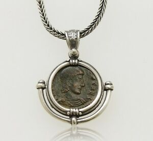 Sterling Silver Necklace With A Genuine Ancient Roman Bronze Coin W Cert 005