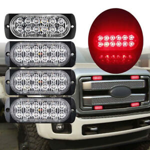 1pc Red 12 Led Emergency Flash Light Car Suv Truck Warning Strobe Flashing Lamp