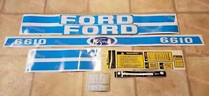 New Blue Complete Hood Warning Decal Set Kit For Ford New Holland Tractor 6610