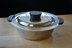 Vintage Mid Century Modern Stainless Steel Covered Serving Dish