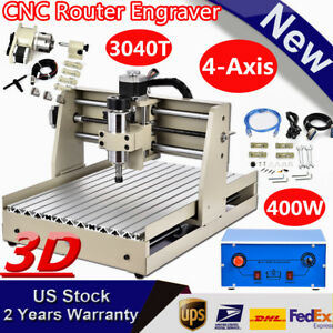 New Usb 4 Axis 3040 Cnc Router Engraver Engraving 3d Cutter Milling Desktop 400w
