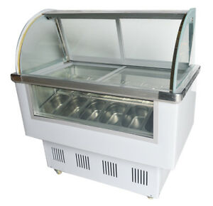 Ice Cream Freezer Dipping Display Cabinet Refrigerated Showcase 12 Pans 220v New