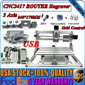 Usb 2417 Cnc Router Engraver Metal Milling Drilling Machine Kit Grbl Desktop Diy