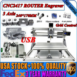 Mini Cnc2417 Usb Desktop Metal Milling Engraving Machine W grbl Router Kit Us