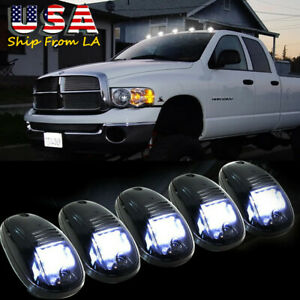 5x White Smoked Lens Led Roof Lamp Rooftop Driving Ligh For Dodge Ram 1500 2500