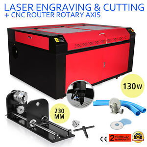 130w Co2 Laser Engraving Machine Rotary A axis 1400x900mm 230mm Track Air Assist