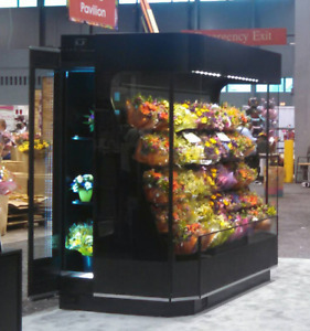 Commercial Refrigerated Floral Plant Display Cooler 3 Sided Flower Case sidedoor