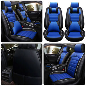 1 Blue Car Seat Covers 100 Pu Leather Front Rear Auto Deluxe Cushion Universal