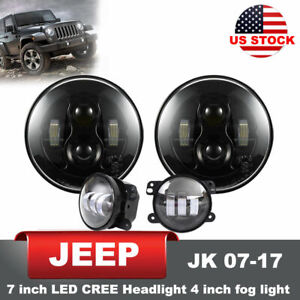 Jeep Wrangler Jk 07 17 7inch Led Cree Headlight Pair W 2pc 4 Inch Led Fog Lights