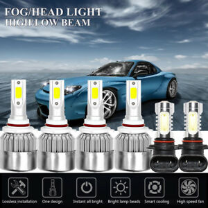 6pcs Cob Led Headlight Fog Lights Kit For Jeep Grand Cherokee 99 10 White 6000k