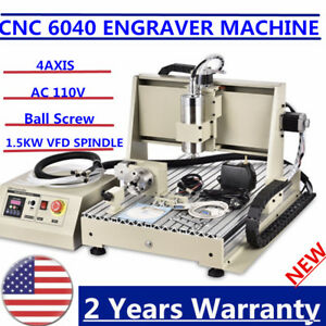1 5kw 4 Axis 6040 Cnc Router Engraving Machine Engraver 3d Cutter Ball Screws Us