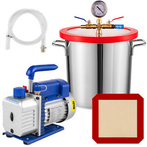 3cfm Vacuum Pump 3 Gallon Vacuum Chamber Stainless Steel Single Stage 60hz