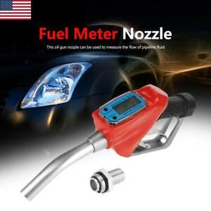 Digital Fuel Meter Nozzle Auto Shut off Oil Filling Gun Diesel Gasoline Refuel