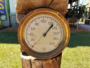Vintage Ashcroft Brass Bezel Steam Gauge
