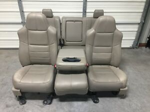 1999 2010 Ford F250 F350 F450 Super Duty Front And Rear Seats Stone Gray Leather