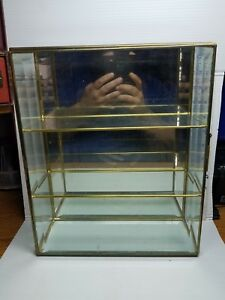 Vintage Brass Beveled Glass Display Case 13x10in Mirror Back