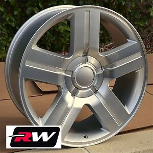 22 Inch Chevy Tahoe Factory Style Wheels Machined Silver Texas Edition Rims
