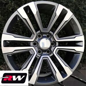 20 Inch Rw 2017 2018 Denali Wheels For Chevy Tahoe Gunmetal Machined Rims Set