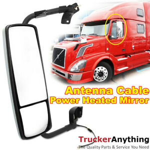 Mirror Chrome Left Driver Side Volvo Vnl 04 15 Power Heated With Antenna Cable