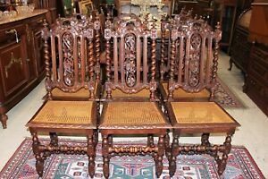 French Antique Renaissance Louis Xiii Set Of 6 Caned Oak Dining Room Chairs