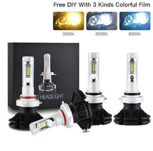 Bevinsee 4x 9005 9006 Combo Led Headlight 3 Color Bulbs Diy White Yellow Blue
