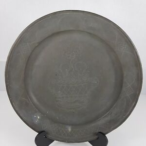 Antique Pewter Charger Plate Engraved Pot Of Flowers Touch Marks 34 5cm C 1800