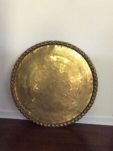 Vintage Round Moroccan Decorative Brass Tray Table Top 30
