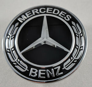 Flat Black Chrome Badge Hood Emblem Ornament For Mercedes Benz A2048170616