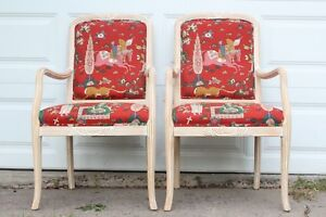 Pair Of Vintage Upholstered Craved Arm Chair By Ipf International Inc