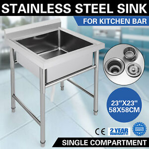 Stainless Steel Handmade Prep Utility Sink 29 5 x29 5 Apron Wash Table