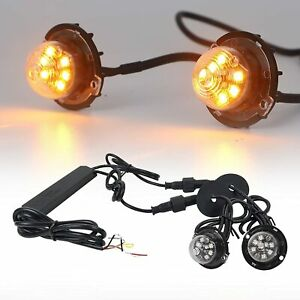 2in1 12w Led Hide Away Emergency Patrol Truck Warning Flash Strobe Lights Amber
