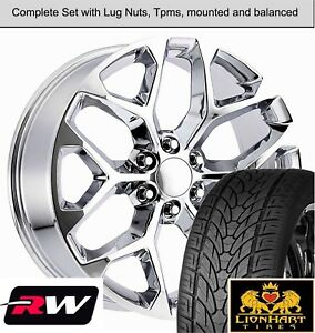 22 X9 Inch Wheels And 22 Tires For Chevy Silverado Replica Ck156 Chrome Rims