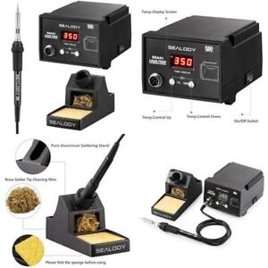 Soldering Station Kit Digital With Aluminum Stand Sponge And Tip Cleaning Wire