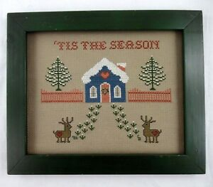 Primitive Style Tis The Season Xmas Cross Stitch Framed House Reindeer Trees