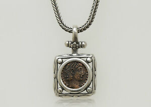 Sterling Silver Necklace With A Genuine Ancient Roman Bronze Coin 000
