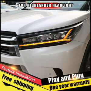 For Toyota Highlander Headlights Assembly Bi Xenon Lens Double Beam Hid Kit 2018