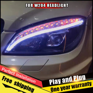 For Benz W204 Headlight Assembly Bi Xenon Lens Double Beam Hid Kit 2007 2010
