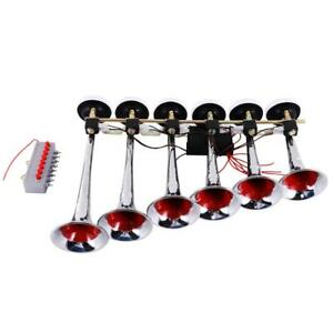Us 150db Musical 6 Trumpet Air Horn Kit For Car Truck Bus Boat 24v Vehicle Top
