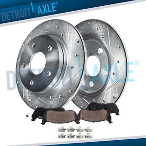 For 2003 2006 Jeep Liberty Wrangler Rear Drilled Rotors And Ceramic Brake Pads