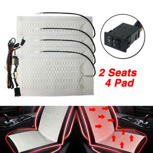 2 Seats Car Seat Cover Pad Heated Thermal Pad Cushion Heater Winter Warm Switch