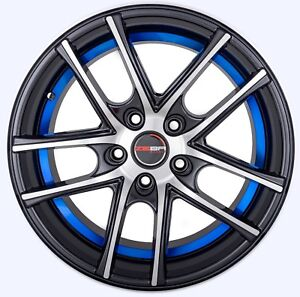 4 Gwg Wheels 17 Inch Black Blue Zero Rims Fits Bmw X1 2012 2015