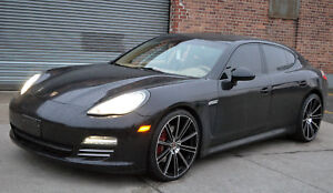 4 Gwg Wheels 22 Inch Staggered Black Machined Flow Rims Fits Porsche Panamera