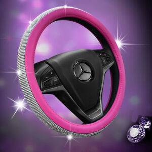 Car Steering Wheel Cover 38cm Pink Deluxe Pu Leather rhinestone Bling Diamond