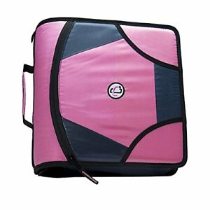 King Sized Zip Tab 4 inch D ring Zipper Binder With 5 tab File Folder Pink
