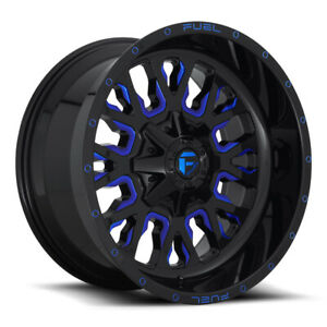 Fuel Stroke D645 18x9 6x135 6x139 7 Et20 Gloss Black With Candy Blue Qty Of 1