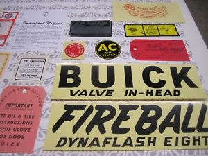 1947 Buick Engine Interior Decal tag Kit Set Of 21